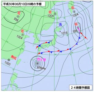 6月10日(日)9時の予想天気図