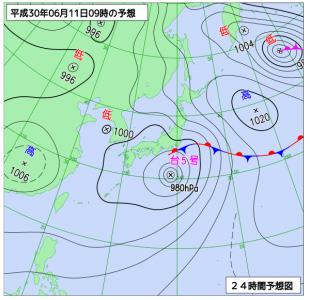 6月11日(月)9時の予想天気図