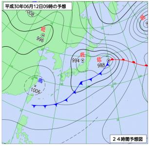 6月12日(火)9時の予想天気図