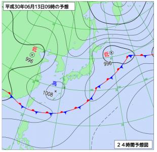 6月13日(水)9時の予想天気図