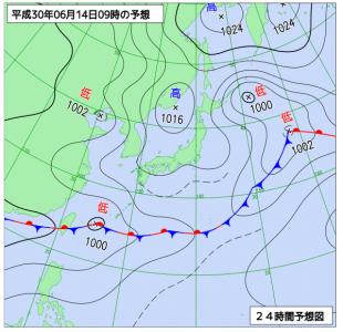 6月14日(木)9時の予想天気図