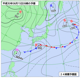 6月15日(金)9時の予想天気図