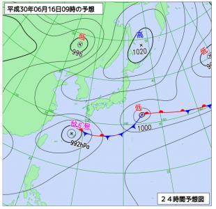 6月16日(土)9時の予想天気図