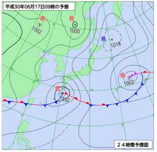 6月17日(日)9時の予想天気図