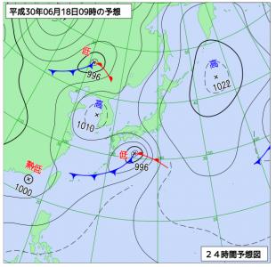 6月18日(月)9時の予想天気図