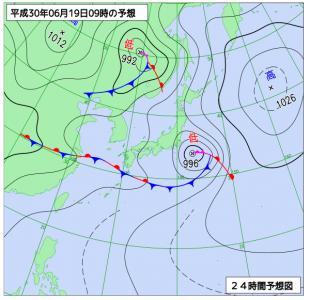 6月19日(火)9時の予想天気図