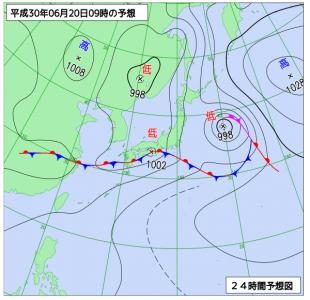 6月20日(水)9時の予想天気図