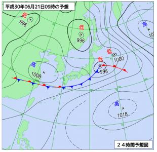 6月21日(木)9時の予想天気図