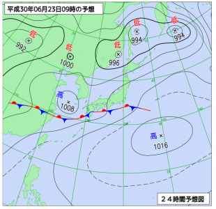 6月23日(土)9時の予想天気図