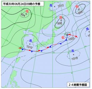 6月24日(日)9時の予想天気図