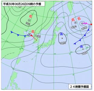 6月26日(火)9時の予想天気図