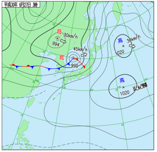 6月27日(水)3時の実況天気図