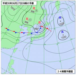 6月27日(水)9時の予想天気図
