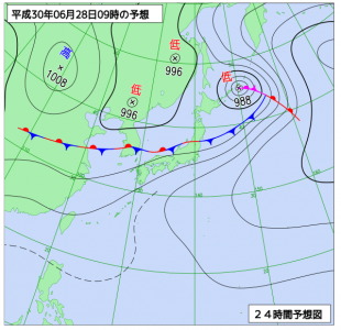 6月28日(木)9時の予想天気図