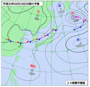 6月29日(金)9時の予想天気図