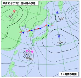 7月1日(日)9時の予想天気図