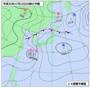 7月2日(月)9時の予想天気図