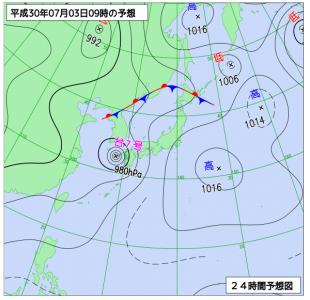7月3日(火)9時の予想天気図