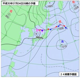 7月4日(水)9時の予想天気図