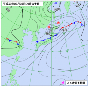 7月5日(木)9時の予想天気図