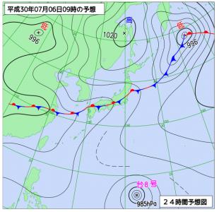 7月6日(金)9時の予想天気図