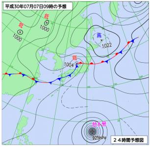 7月7日(土)9時の予想天気図