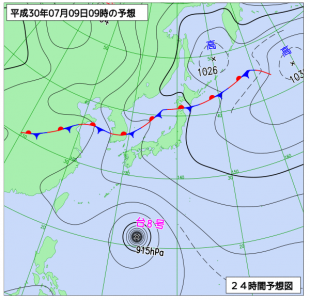 7月9日(月)9時の予想天気図