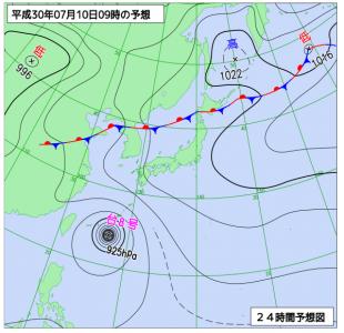 7月10日(火)9時の予想天気図