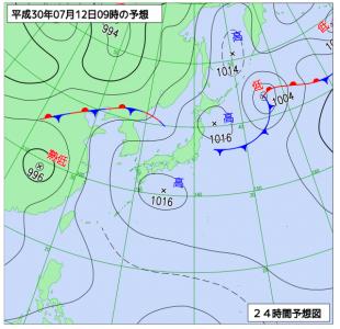 7月12日(木)9時の予想天気図