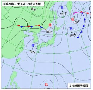 7月13日(金)9時の予想天気図