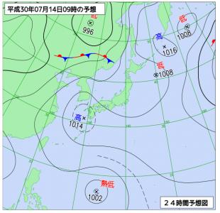 7月14日(土)9時の予想天気図