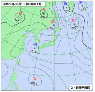 7月15日(日)9時の予想天気図