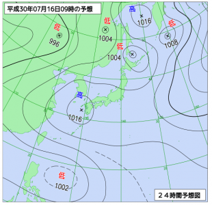 7月16日(月祝)9時の予想天気図