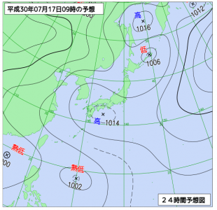 7月17日(火)9時の予想天気図