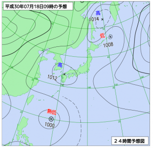 7月18日(水)9時の予想天気図
