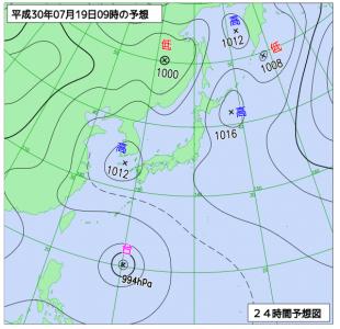 7月19日(木)9時の予想天気図