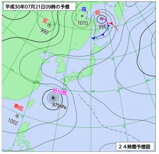 7月21日(土)9時の予想天気図