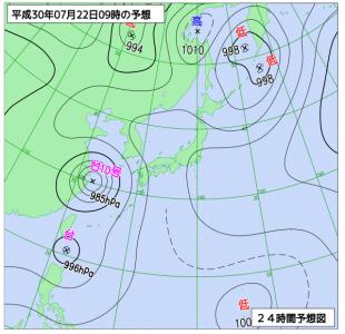 7月22日(日)9時の予想天気図