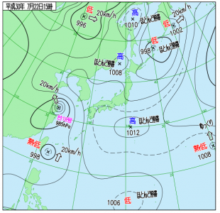 7月22日(日)15時の実況天気図
