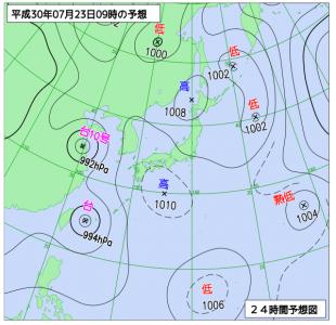7月23日(月)9時の予想天気図