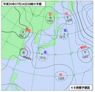7月24日(火)9時の予想天気図