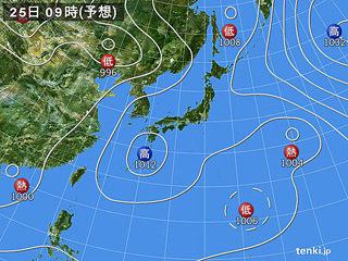 7月25日(水)9時の予想天気図