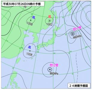 7月26日(木)9時の予想天気図