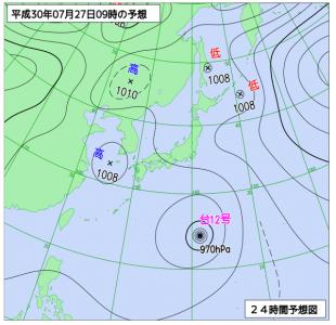 7月27日(金)9時の予想天気図