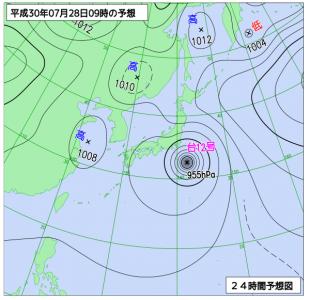 7月28日(土)9時の予想天気図