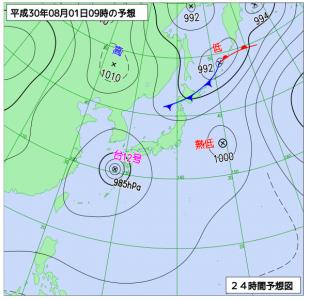 8月1日(水)9時の予想天気図