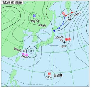 8月1日(水)15時の実況天気図
