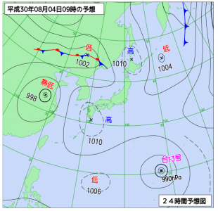 8月4日(土)9時の予想天気図