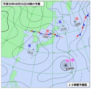 8月5日(日)9時の予想天気図