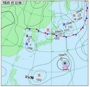 8月5日(日)15時の実況天気図